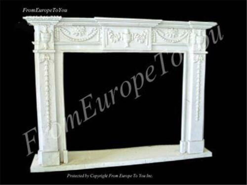 HAND CARVED MARBLE CLASSICAL FIREPLACE MANTEL TLE21