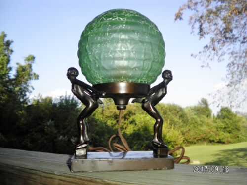 Art Deco Petite Ladies Woman Figural Lamp W/ Vintage Green Crackle Glass Globe