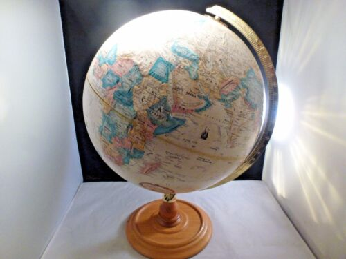 REPLOGLE WORLD CLASSIC 12 Inch World Globe OAK  Base Classic Raised Relief USSR