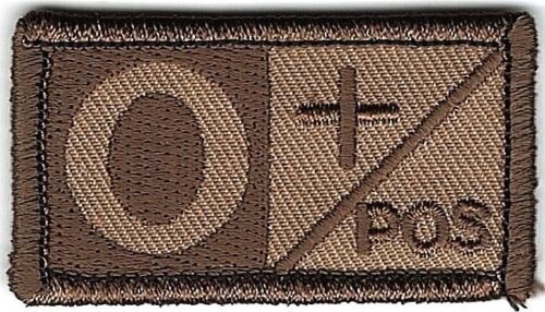 Brown Tan Blood Type O+ Positive Patch VELCRO® BRAND Hook Fastener CompatibleArmy - 48824
