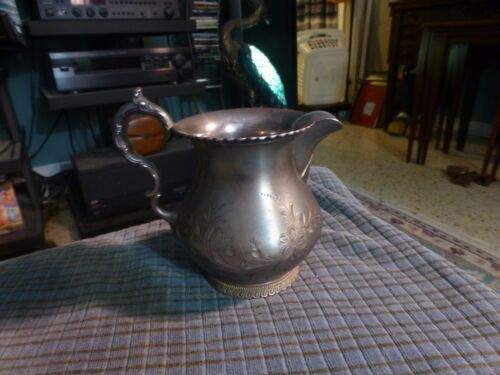"""Vintage Wilcox Silverplate Co Meriden, Conn. Creamer Pitcher 4"""" Chased Cute !"""