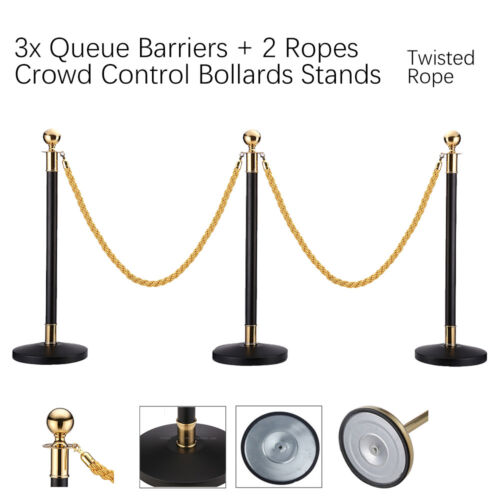3x Queue Barriers + 2 Ropes Crowd Control Bollards Stands (TWISTED GOLD ROPE)