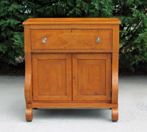 Wonderful American Empire Tiger Maple Jelly Cabinet Server Side Cabinet c1840