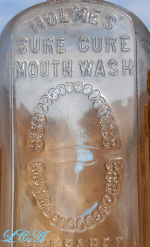 1880's DENTAL bottle HOLMES' SURE CURE DENTIFRICE bottle w/pic TEETH and LABEL