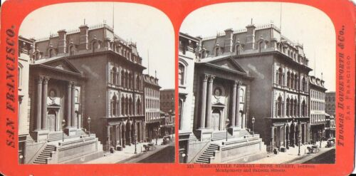Houseworth Stereoview of the Mercantile Library on Bush St San Francisco 1870s