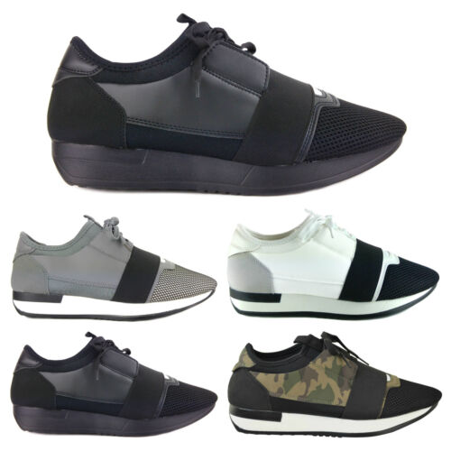 NEW MENS DESIGNER STYLE RACE RUNNER MESH BALI LACE UP TRAINERS SNEAKERS SHOES