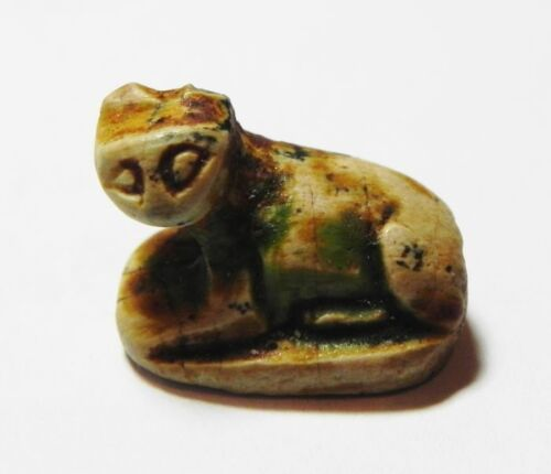ZURQIEH -ASW132- Ancient Egyptian Steatite Seal in a shape of a Cat.
