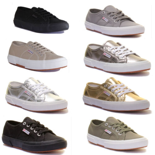 Superga 2750 Cotu Classic Womens Canvas Taupe Lace Up Trainers UK Size 3 - 8