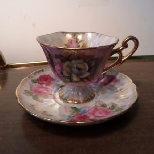 Vintage•Footed•TEACUP•&SAUCER•Gold•Luster•FLORAL•Opalescent•Sterling•CHINA•JAPAN
