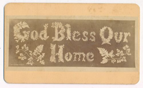 GOD BLESS OUR HOME Spelled Out With Foliage by H.J. Reed Worcester Mass 1870 CDV