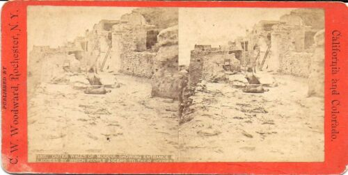 C W Woodward Stereoview – Outer Walls of Moqui Pueblo w/ Ladders, Entrance 1870s
