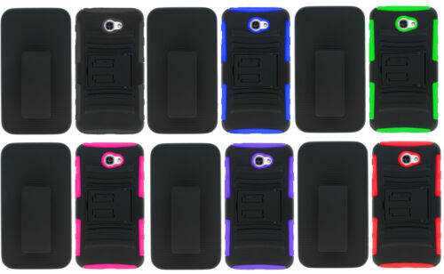 Belt Clip Holster + Hybrid Case Phone Cover For Alcatel ZIP LTE A577VL A576BL