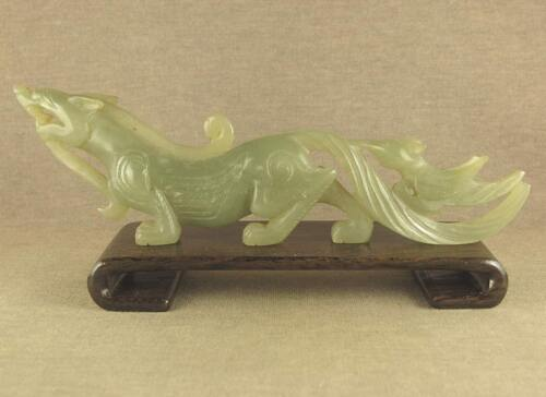"""OLD 6.3""""CARVED CHINESE ANTIQUE JADE DRAGON STATUE TAIL WITH PHOENIX"""