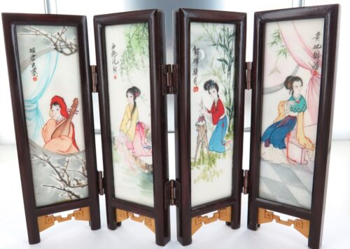 SUPERB c1950's / 1960's CHINESE EXPORT WARE MINIATURE HANDPAINTED MARBLE SCREEN.