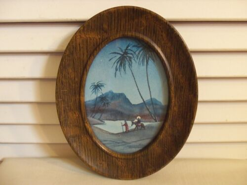 Antique Vintage Blue Christmas Picture Metal Frame Faux Wood Small Oval 5 X 7