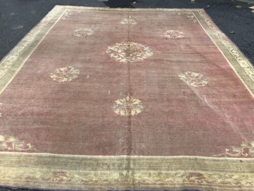 Antique Agra 10x13 ft Oriental Hand Knotted Area Rug  purple  colors circa 1860
