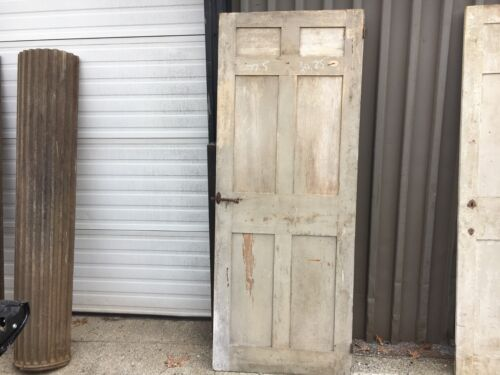 """c1830-40 antique six panel door old paint mortised & pegged 77.5"""" h x 30.25"""" w"""
