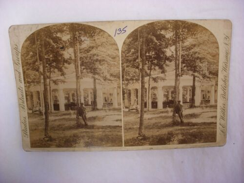 Antique Steroview Photo L. E. Walker Warsaw New York NY Park Chautauqua ?