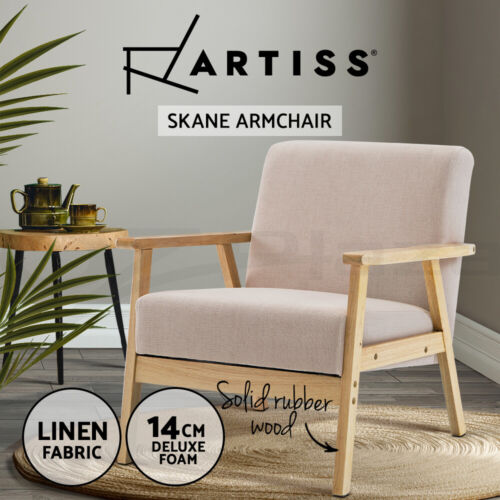 Artiss Armchair Single Sofa 1 Seater Lounge Armchairs Scandinavian Fabric Beige <br/> ✔Fabric Upholstered✔Wingback Design✔Extra Thick Foam