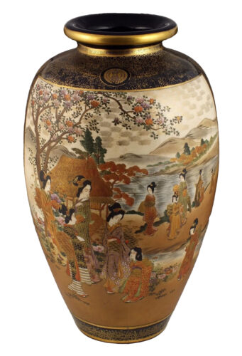 Monumental Japanese Meiji Satsuma Pottery Palace Floor Vase 22+ Inches
