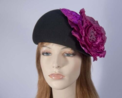 Black winter felt beret hat with fuchsia flower Fillies Collection. RRP $149