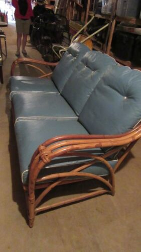 Early 20th Century Heywood Wakefield Rattan Sofa w/ Cushions