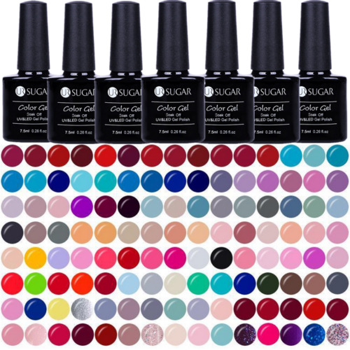 7.5ml Soak Off UV Gel Polish Black White Glitter Nail Art Gel Varnish UR SUGAR