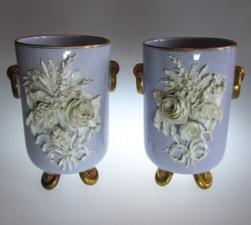 Pair of 19th C English Porcelain Floral Encrusted Jardiniere Vases Lilac Ground