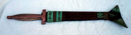 Antique Hand Made African Niger Dagger Knife Leather Sheath Tahoua Gozma