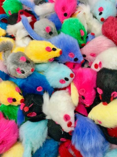 Cat Toy - Rattling Fuzzy Mice w Tail - 5,10,15,20, 25, 30, 40, 50, 60 ct