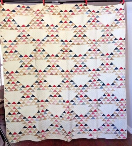 Antique Hand Sewn Ocean Wave Triangle Quilt - Late 19th - Early 20th Centuries
