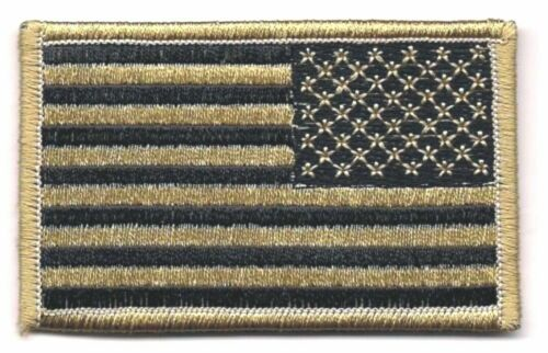 Coyote Black / Tan United States US REVERSE Flag Patch VELCRO® BRAND FastenerArmy - 48824