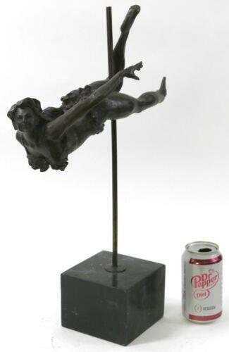Handmade bronze sculpture Gymnast Female Nude French Deco Art Lovely Gift Figure