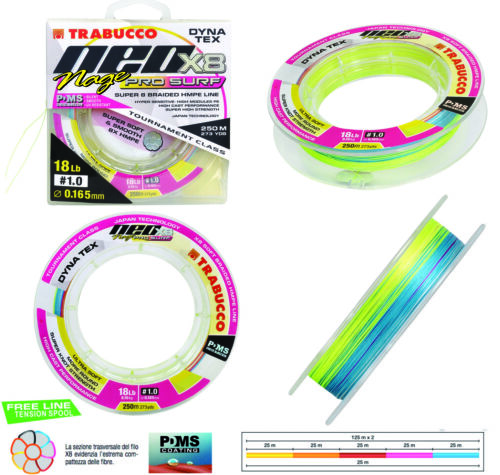Trabucco Neo x8 Nage pro Surf Braid 8 capi multicolor 250 pesca Japan Style RNG