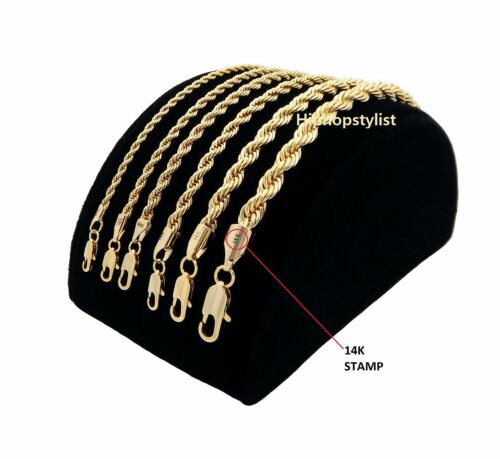 Mens Rope Chain Necklace Bracelet 2mm to 6mm 14k Gold Plated 8, 9, 20, 24, 30""