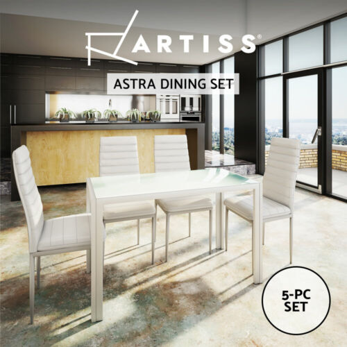 Artiss 5-Piece Dining Table and Chairs Dinner Set Glass Leather Seater White <br/> Best Seller! Premium Quality, Fast Delivery, Buy It Now