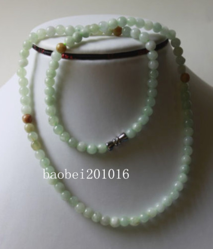 Untreated ** 100% Natural Beautiful A Grade JADE Beads Necklace, 20 Inches FF088