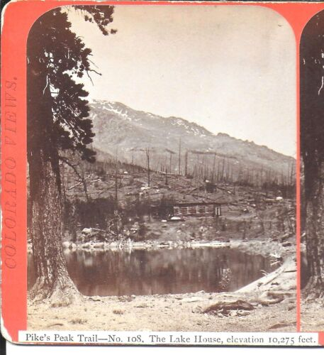 James Thurlow Stereoview of The Lake House on the Pikes Peak Trail Colo c1870s