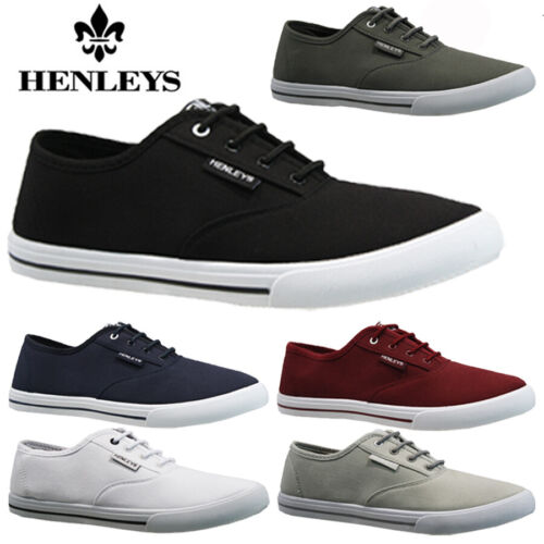 MENS HENLEYS LACE UP TRAINERS CASUAL CANVAS SKATES PUMPS SHOES PLIMSOLLS SIZE  <br/> ALSO RUSSELL ATHLETIC CANVAS PLIMSOLLS (BOXED) IN STOCK