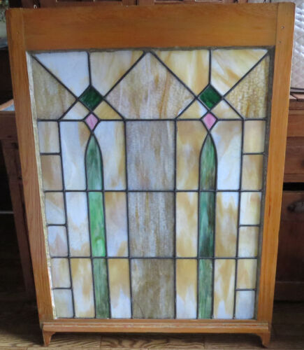 "Large Antique Stately Window Stained Slag Glass 45"" x 32.25"""