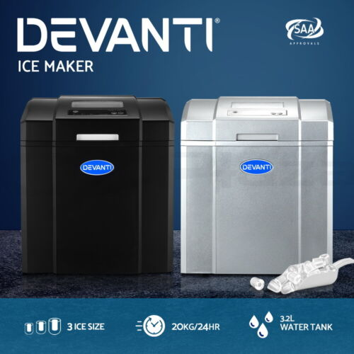 Devanti Ice Maker Machine Commercial Portable Ice Cube Tray Countertop <br/> 14 Cubes / 3 Ice Sizes / 20KG/24HR / Bullet Shape Ice