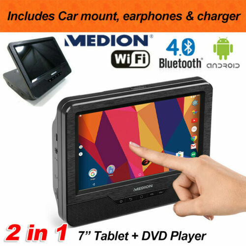 """Medion 2-in-1 7"""" Android 7.0 Tablet with DVD CD Player Wifi Bluetooth Quad Core"""