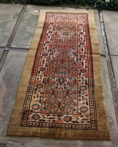 "Antique Camel's Wool Persian Serab Runner 3'9"" x 7'6"" (resized)"