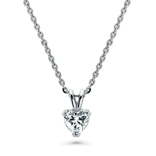 Silver Solitaire Necklace Made with Swarovski Zirconia Heart Shaped 0.74 CT