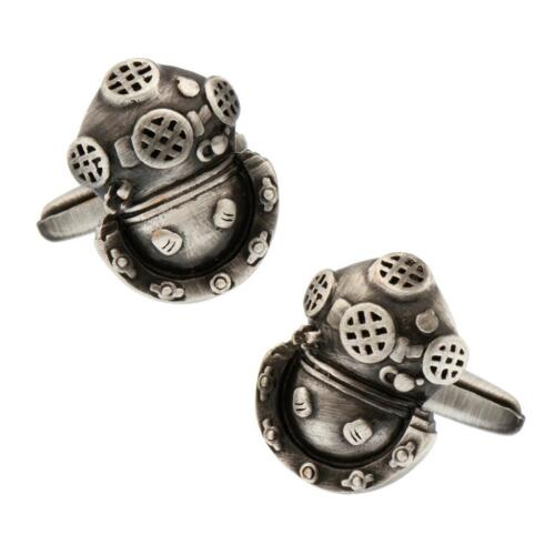 Diver Diving Scuba Helmet Pair Cufflinks in Gift Box & Polishing Cloth