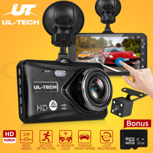4'' 1080P Car Dash Camera Front and Rear FHD DVR Recorder 32GB SD Card Dual Cam