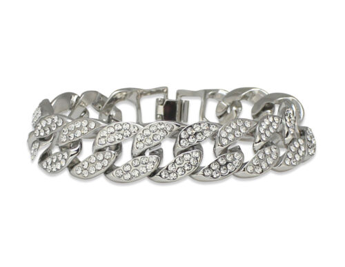 Miami Cuban Link Iced Out Cz Bracelet 14k White Gold Plated Hip Hop 8 inches
