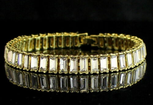 1 Row Baguette Simulated Diamond Tennis Bracelet 14k Gold Plated 8.5 inch
