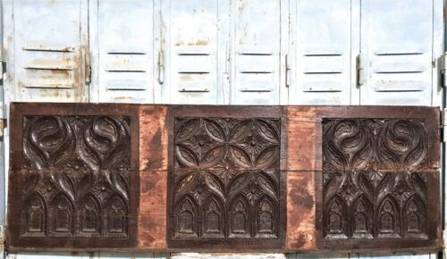 15 th C FLAMBOYANT GOTHIC WALL PANEL Antique french hand carved wood Carving
