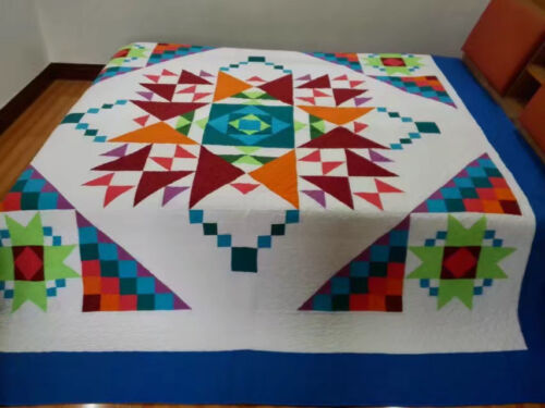 King size  machine pieced and quilted  Patchwork quilt / #NJ-80